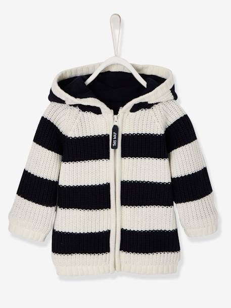 Striped Knitted Cardigan with Lined Hood for Baby Boys BLACK DARK STRIPED+BLUE DARK STRIPED - vertbaudet enfant