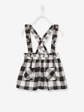 Dress myself-Chequered Twill Skirt with Ruffles and Straps for Girls