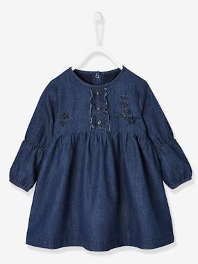 Schoolwear-Baby-Embroidered & Frilled Denim Dress for Baby Girls