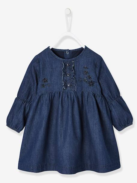 e59205b63b Embroidered   Frilled Denim Dress for Baby Girls BLUE DARK SOLID -  vertbaudet enfant