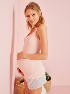 Maternity-Nightwear & Loungewear-Maternity Top with Pointelle Motifs