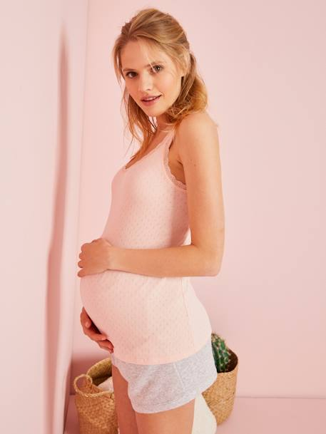 Maternity Top with Pointelle Motifs GREY LIGHT MIXED COLOR+PINK LIGHT SOLID+WHITE LIGHT SOLID - vertbaudet enfant