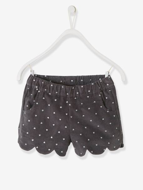 2c275f2b25 Corduroy Shorts for Girls - grey dark all over printed, Girls