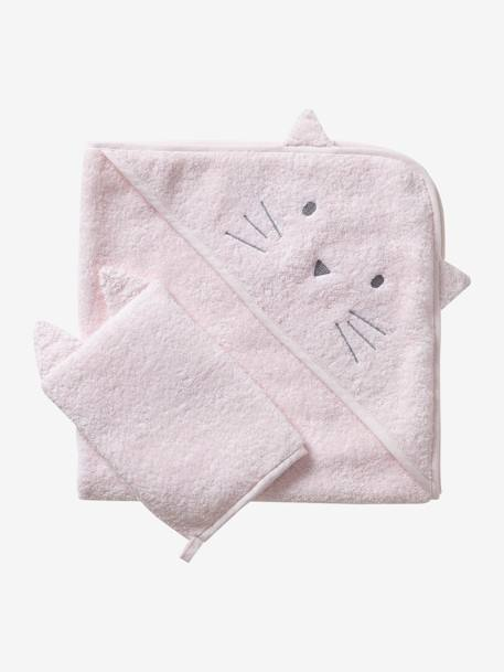 Bath Cape + Wash Mitt, in Organic Cotton GREY LIGHT SOLID+PINK LIGHT SOLID+WHITE LIGHT SOLID - vertbaudet enfant