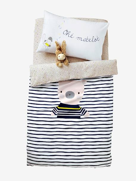 Duvet Cover, Fun Sailor Theme White/blue - vertbaudet enfant