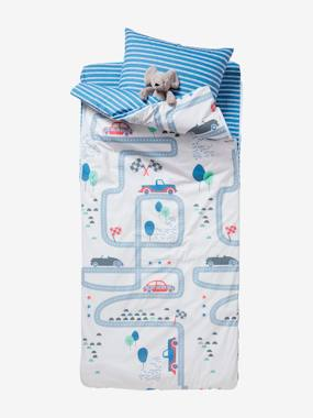 Bedding-Child's Bedding-Sleeping Bags & Ready Beds-Ready-for-Bed with Duvet, Racing Track Theme: 4-Piece Set