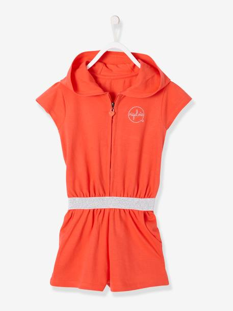 Hooded Jumpsuit in Piqué Knit for Girls BLUE DARK SOLID WITH DESIGN+ORANGE BRIGHT SOLID WITH DESIG+PINK DARK SOLID WITH DESIGN+YELLOW MEDIUM SOLID WTH DESIGN - vertbaudet enfant