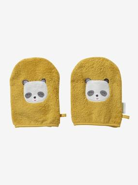 Bedding & Decor-Bathing-Bath Capes-Pack of 2 Wash Mitts, Panda