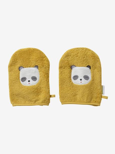 Pack of 2 Wash Mitts, Panda YELLOW DARK SOLID WITH DESIGN - vertbaudet enfant
