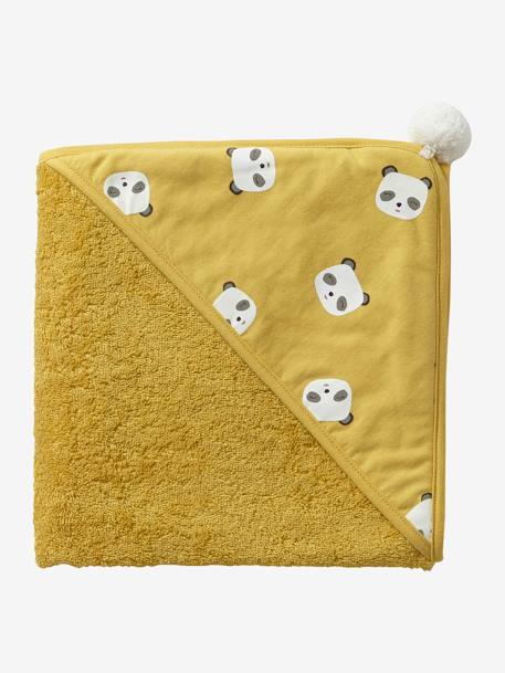 Bath Cape, Panda YELLOW DARK SOLID WITH DESIGN - vertbaudet enfant