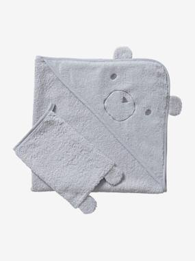Bedding-Bath Cape + Wash Mitt, in Organic Cotton