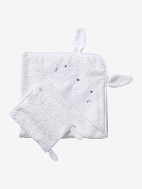 Vertbaudet Sale-Bedding-Bath Cape + Wash Mitt, in Organic Cotton