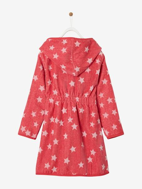 Hooded Bathrobe for Children with Star Print BLUE DARK ALL OVER PRINTED+BLUE MEDIUM ALL OVER PRINTED+GREY DARK ALL OVER PRINTED+PINK BRIGHT ALL OVER PRINTED+PINK LIGHT ALL OVER PRINTED+WHITE LIGHT ALL OVER PRINTED - vertbaudet enfant