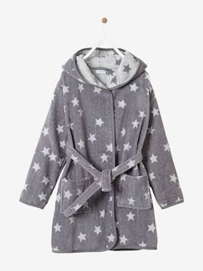 Girls-Bathrobes & Dressing Gowns-Hooded Bathrobe for Children with Star Print