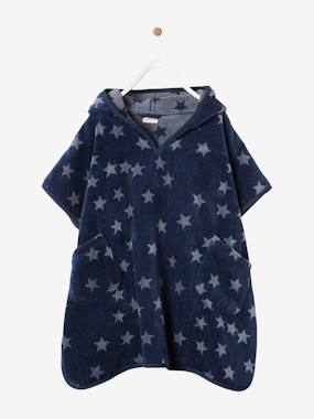 Customization - embroidery-Hooded Bath Poncho with Star Print for Children