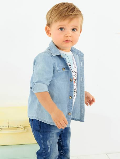 Baby Boys' Cambric Shirt BLUE LIGHT WASCHED - vertbaudet enfant