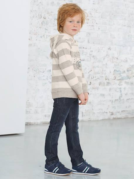 MEDIUM Fit - Boys' Straight Cut Trousers BLACK MEDIUM WASCHED+BLUE DARK WASCHED - vertbaudet enfant