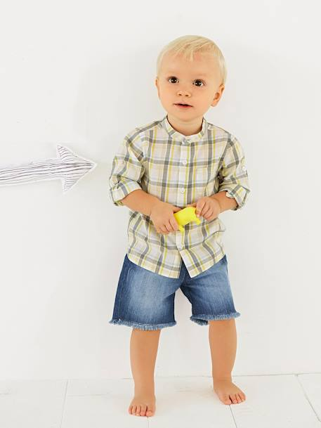 Baby Boys' Shirt with Large Tri-Colour Checks GRENN LIGHT CHECKS - vertbaudet enfant