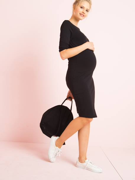 Close-Fitting Maternity Dress BLACK DARK SOLID - vertbaudet enfant