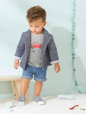 Baby-Outfits-Baby Boys' Outfit: Cap + Top with Car Motif + Bermuda Shorts