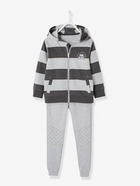 Vertbaudet Sale-Boys-Trousers-Jacket with Zip + Fleece Trouser Set for Boys