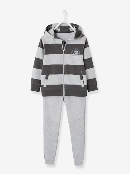 Jacket with Zip + Fleece Trouser Set for Boys GREY DARK STRIPED - vertbaudet enfant