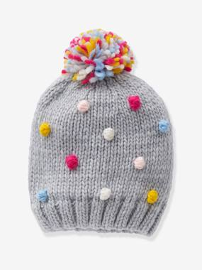 Girls-Accessories-Beanie with Multicoloured Pompoms for Girls