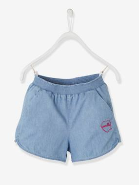 Vertbaudet Collection-Girls-Girls' Light Denim Shorts