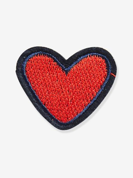 Pack of 4 Iron-on Patches for Girls RED DARK 2 COLOR/MULTICOLOR - vertbaudet enfant