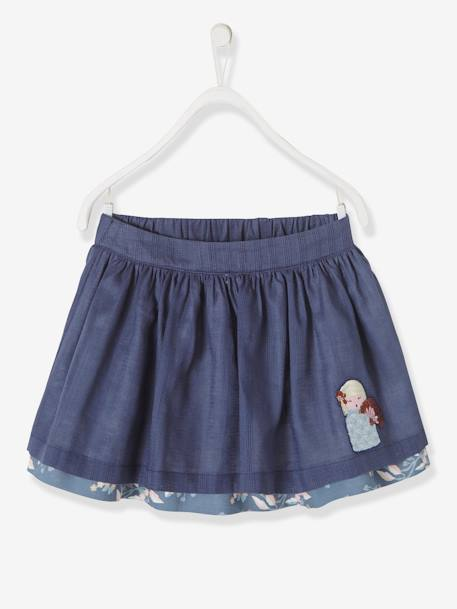 3638d8b0c5 Girls  Reversible Skirt BLUE DARK ALL OVER PRINTED+BLUE DARK SOLID WITH  DESIGN+ ...