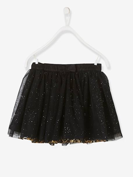 Girls Glitter Skirt BLACK DARK ALL OVER PRINTED - vertbaudet enfant