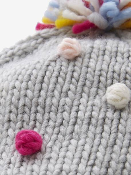 Beanie with Multicoloured Pompoms for Girls GREY MEDIUM SOLID WITH DESIGN - vertbaudet enfant