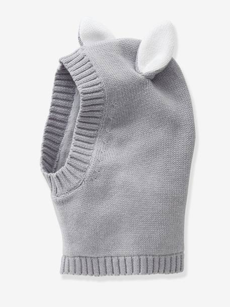 Beanie with Ears for Girls GREY MEDIUM SOLID+PINK LIGHT SOLID - vertbaudet enfant
