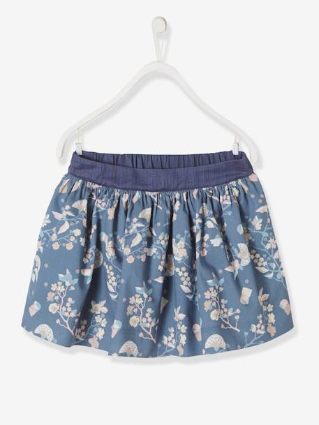 da465ff13d ... Girls  Reversible Skirt BLUE DARK ALL OVER PRINTED+BLUE DARK SOLID WITH  DESIGN+