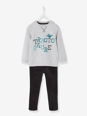 Vertbaudet Sale-Boys-Top + Slim Leg Trousers for Boys