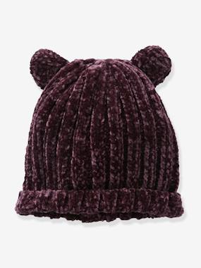 Outlet-Girls-Chenille Knit Beanie with Ears for Girls
