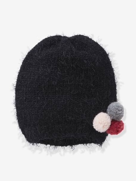 Furry Knit Beanie for Girls BLACK DARK SOLID WITH DESIGN - vertbaudet enfant
