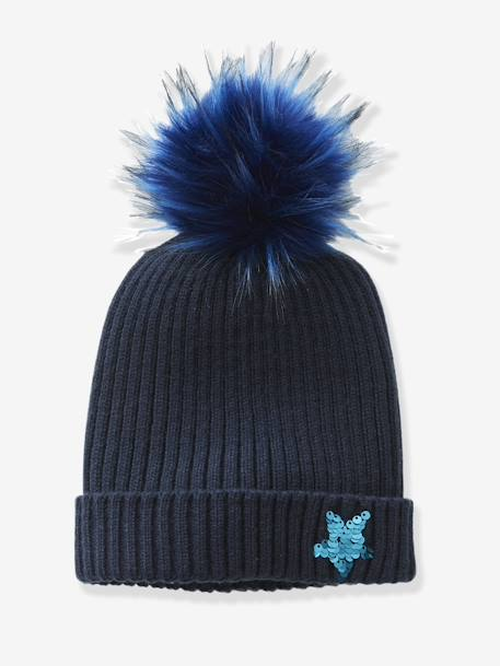 Beanie with a Reversible Sequinned Star BLUE DARK SOLID WITH DESIGN - vertbaudet enfant