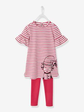 Vertbaudet - Collection maternelle : t shirt réversible, vêtements enfant-Fille-Ensemble fille robe imprimée + legging