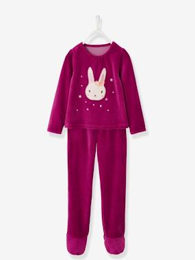 Vertbaudet Collection-Girls-Footed Velour Pyjamas for Girls