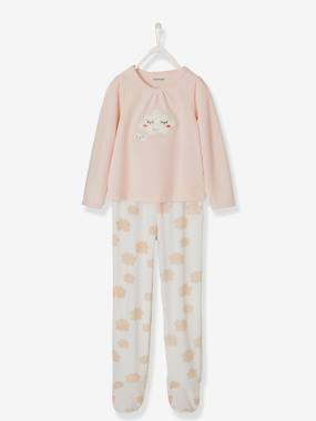 Girls-Nightwear-Footed Velour Pyjamas for Girls