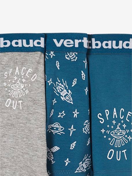 Pack of 3 Stretch Boxer Shorts for Boys BLUE DARK SOLID WITH DESIGN - vertbaudet enfant
