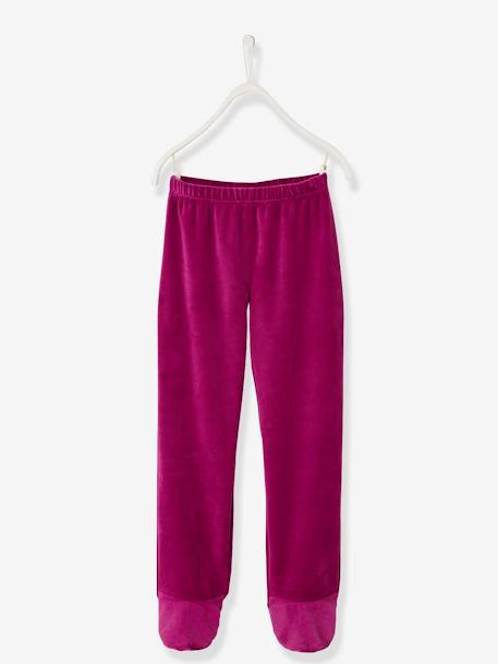 Footed Velour Pyjamas for Girls PINK DARK SOLID WITH DESIGN - vertbaudet enfant