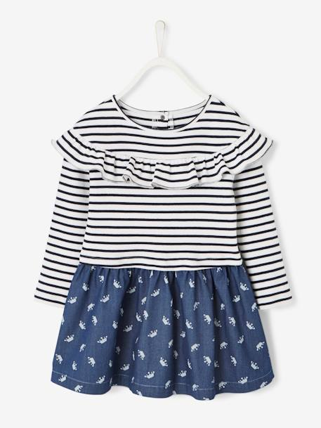 Dual Fabric Dress for Girls in Fleece & Printed Denim BLUE DARK STRIPED - vertbaudet enfant