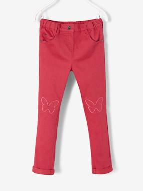Vertbaudet Sale-Girls-Slim Leg Trousers for Girls