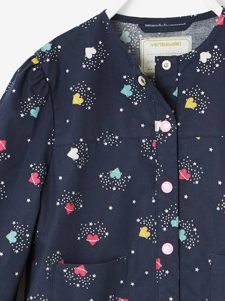 Smock with Frill on the Hem, for Girls BLUE DARK ALL OVER PRINTED - vertbaudet enfant