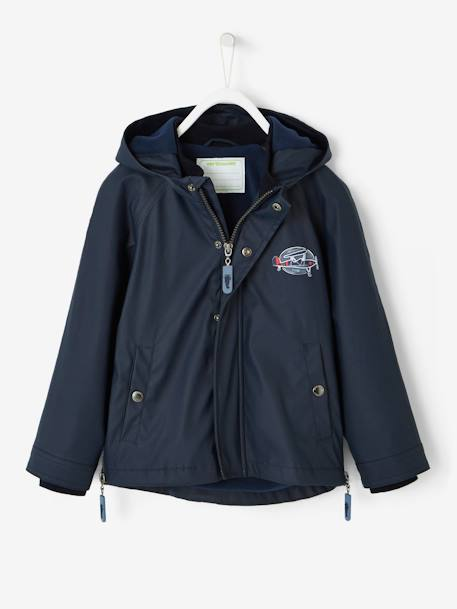 Windcheater with Fleece Lining for Boys BLUE DARK SOLID WITH DESIGN - vertbaudet enfant