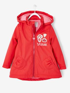Vertbaudet Sale-Hooded Raincoat with Fleece Lining for Girls