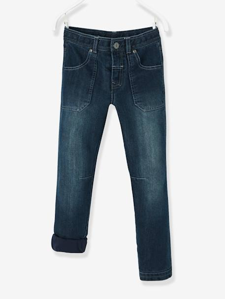 Indestructible Straight Leg Jeans for Boys BLUE DARK SOLID - vertbaudet enfant
