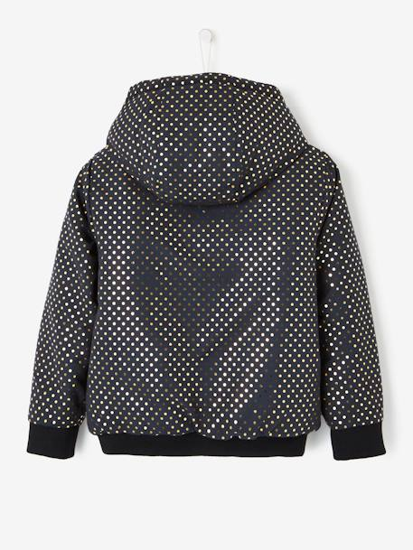 Reversible Padded Jacket for Girls BLACK DARK ALL OVER PRINTED+BROWN DARK ALL OVER PRINTED+PINK DARK ALL OVER PRINTED - vertbaudet enfant